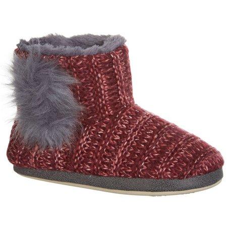 Kensie Womens Burgundy Shimmery Boot Slippers