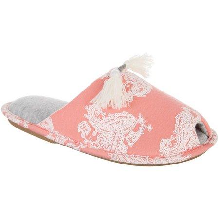 Hanes Paisley Tassel Slide Slippers