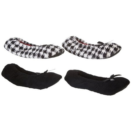 Capelli Womens 2-pk. Solid & Houndstooth Slippers