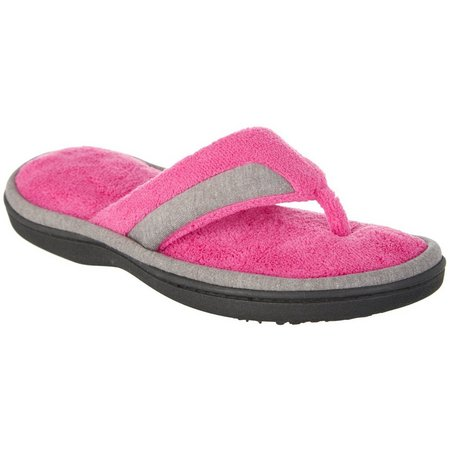 Isotoner Womens Mei Microterry Thong Slippers