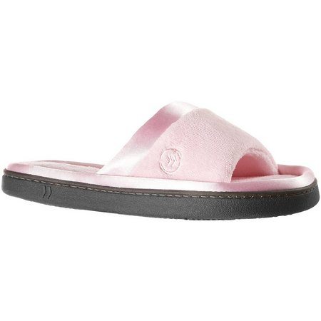Isotoner Womens Micro Terry Satin Slide Slipper