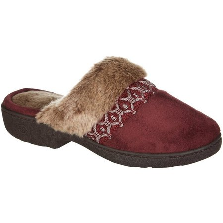 Isotoner Womens Nola Faux Fur Slippers