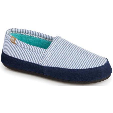 Acorn Womens Blue Stripe Moccasin Slippers
