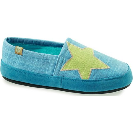 Acorn Womens Turquoise Moccasin Slippers