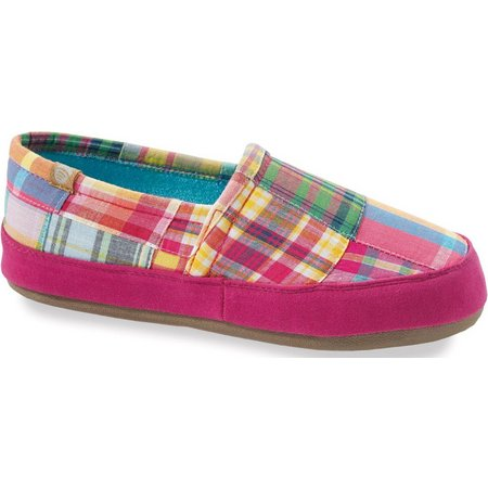 Acorn Womens Pink Plaid Moccassin Slippers