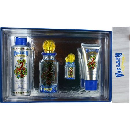 Ed Hardy Villain Mens 4 pc Cologne Gift