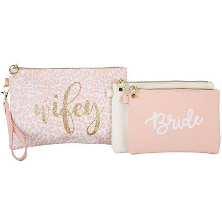 Jade & Deer 3-pc. Wifey Bride Cosmetic Bag