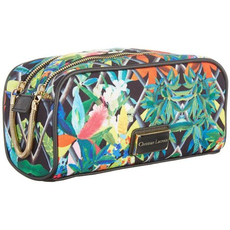 Christian LaCroix Tropical Double Zip Cosmetic Bag