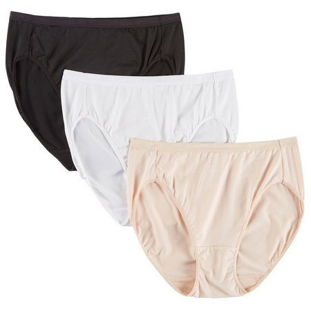 Ellen Tracy 3-pk. Microfiber Hi-Cut Panties