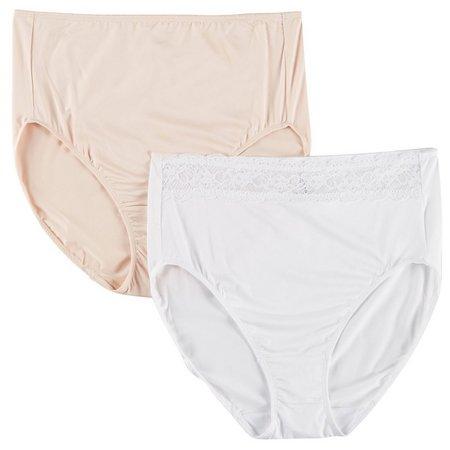 Ellen Tracy 2-pk. Lace Trim Hi-Cut Brief Panties