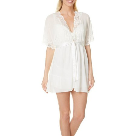 Cinema Etoile' Womens Lace Trim Short Robe
