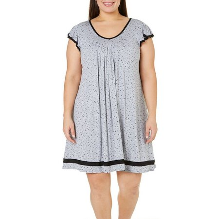 Ellen Tracy Plus Essentials Dot Print Nightgown