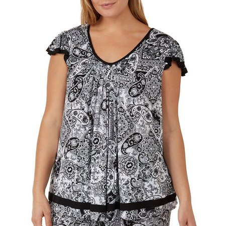 Ellen Tracy Plus Essentials Solid Pajama Top