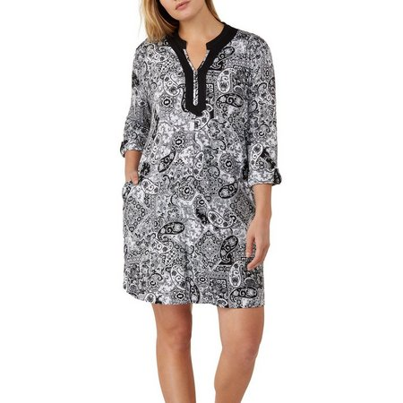 Ellen Tracy Plus Paisley Print Tunic Nightgown