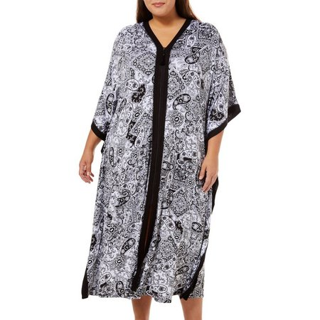 Ellen Tracy Plus Zipper Paisley Kaftan