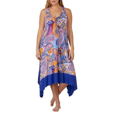 Ellen Tracy Plus Paisley Printed Nightgown