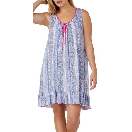 Ellen Tracy Plus Sleeveless Floral Nightgown