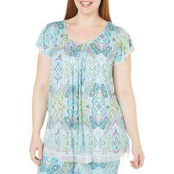 Ellen Tracy Plus Paisley Pleat Pajama Top