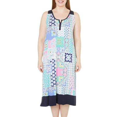 Ellen Tracy Plus Paisley Patch Print Nightgown