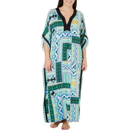 Ellen Tracy Plus Long Patchwork Kaftan Nightgown