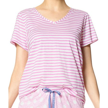 Hue Plus Stripe V-Neck Pajama Top