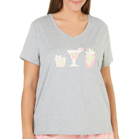 Coral Bay Plus Bling Cocktails Pajama Top