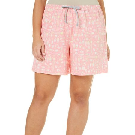 Coral Bay Plus Cocktail Print Pajama Shorts