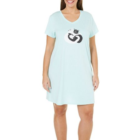 Coral Bay Plus V-Neck Hugging Cats Nightgown