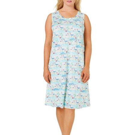 Coral Bay Plus Beach Umbrella Print Leisure Dress