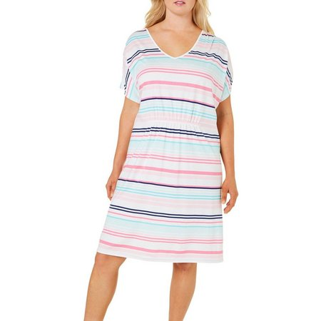 Coral Bay Plus Striped Print Leisure Dress