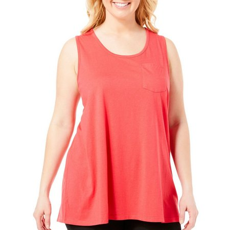Coral Bay Plus Solid Pocket Pajama Tank Top