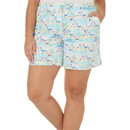 Coral Bay Plus Beach Umbrella Print Pajama Shorts