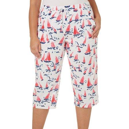 Coral Bay Plus Sail Boat Pajama Capri Pants