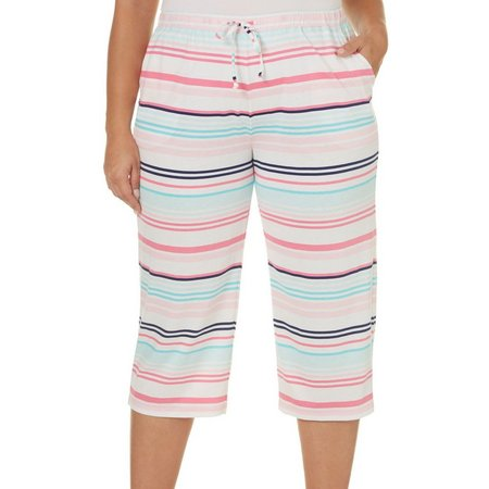 Coral Bay Plus Stripe Pajama Capri Pants