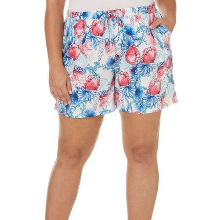 Coral Bay Plus Shell Swirl Pajama Shorts
