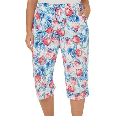 Coral Bay Plus Shell Swirl Pajama Capri Pants