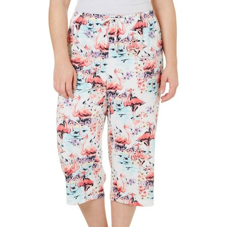 Coral Bay Plus Flamingo Print Pajama Capris