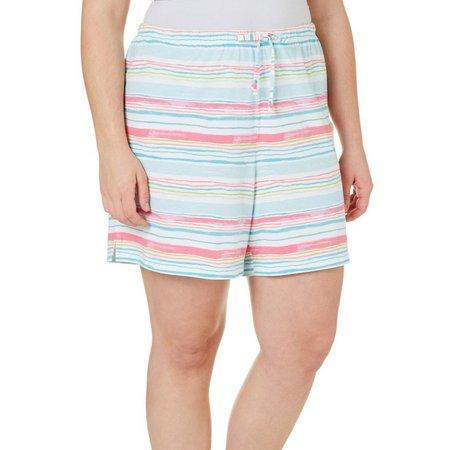 Coral Bay Plus Stripe Print Pajama Shorts