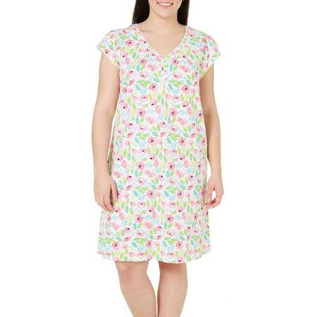 Coral Bay Plus Henley Floral Nightgown