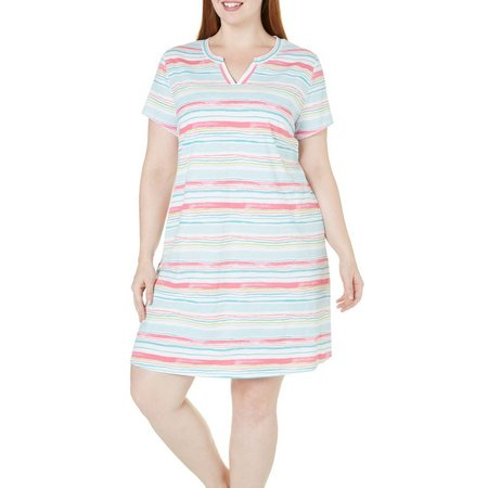 Coral Bay Plus Striped Split Neck Nightgown