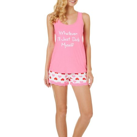 Mentally Exhausted Juniors 2-pc. Date Self Pajama Shorts