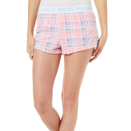 Mentally Exhausted Juniors Dream Plaid Soft Pajama Shorts