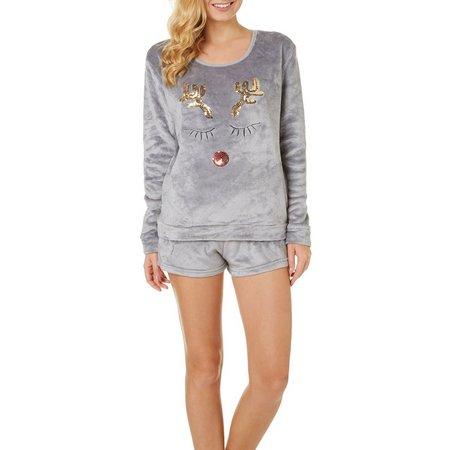 Em & Alfie Juniors 2-pc. Reindeer Pajama Shorts