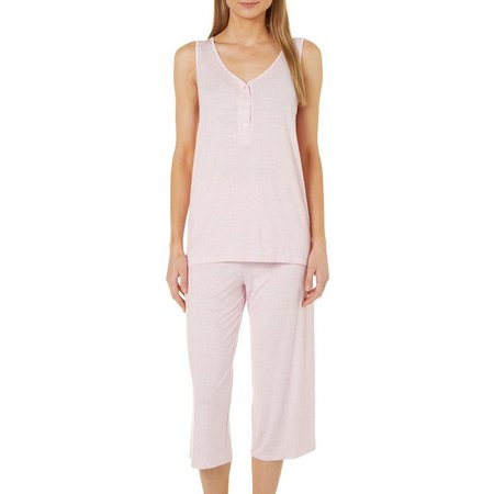 Jaclyn Intimates Womens 2-pc. Stripe Henley Tank Pajama