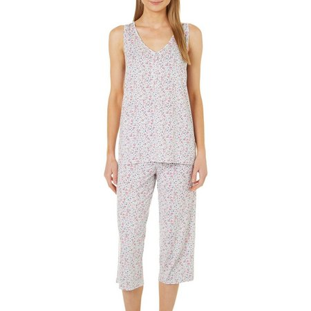 Jaclyn Intimates Womens 2-pc. Henley Tank Floral Pajama
