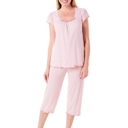 New! Jaclyn Intimates Womens Crinkle Stripe Pajama Set