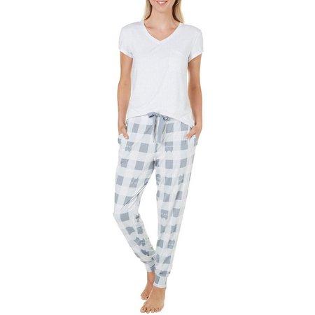 Jaclyn Intimates Womens Cat Plaid Pajama Set