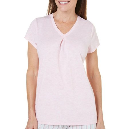 New! Jaclyn Intimates Womens Solid V-Neck Pajama Top
