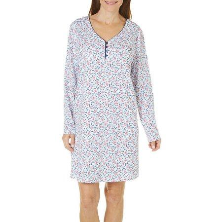 Karen Neuburger Womens Ditsy Button Nightgown