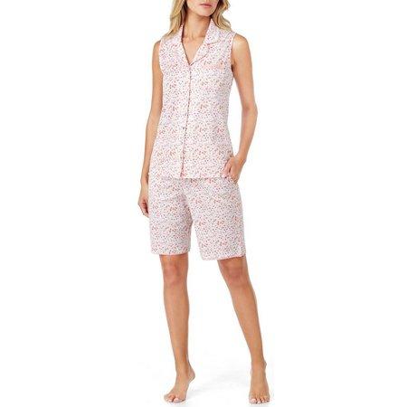 Aria Womens Sleeveless Floral Capri Pajama Set